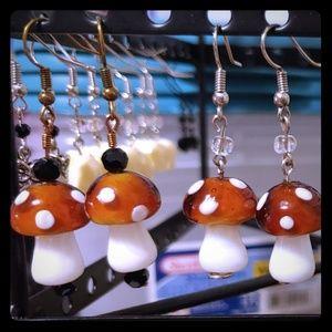 Hand made mushroom earrings